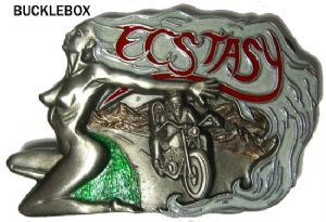 Ecstacy Nude Motorcycle Belt Buckle + display stand. Code BD8